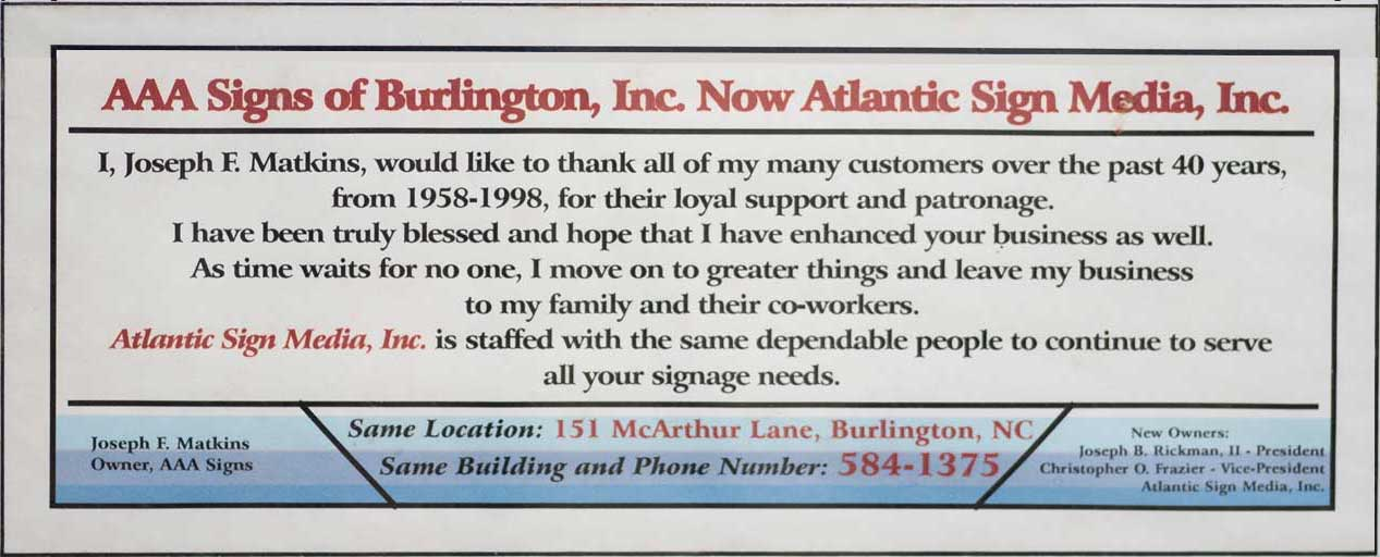 AAA Signs of Burlington now Atlantic Sign Media, Inc.